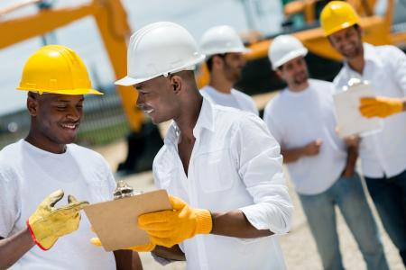 Group working on construction site
